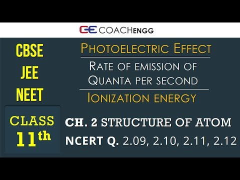 STRUCTURE OF ATOM Class 11 NCERT Solutions Q2.9 to Q2.12 - Photoelectric Effect, Ionization Energy