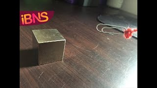 Playing with a SUPER strong neodymium magnet cube (N50)