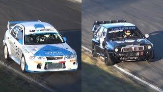 POPPING Mitsubishi Lancer EVO VI Anti-Lag vs SCREAMING Lancia Delta HF Integrale Turbo Sound!
