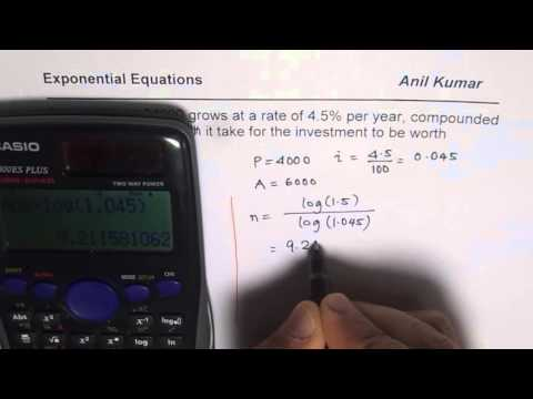 Use Logarithms to Find Annual Compound Interest Investment Growth Time