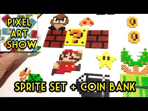 Perler Bead Tutorial: Super Mario Coin Bank + Sprites Project - Pixel Art Show