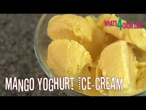 Mango Yoghurt Ice-Cream. Homemade Creamy, Smooth Yogurt Ice Cream.