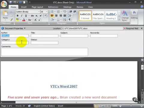 Microsoft Word 2007 ENG TB 10 06 Change Document Properties