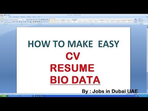 CV FORMAT IN WORD | RESUME FORMAT | BIODATA FORMAT | JOBS IN DUBAI | LATEST JOBS 2018