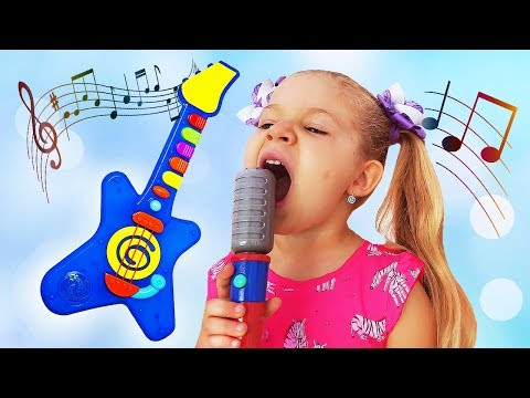 Diana and Papa Pretend Play with Musical Instruments Toys for Kids