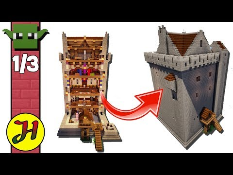 Minecraft Tutorial: Norman Tower House (Best Survival Base) Part 1/3
