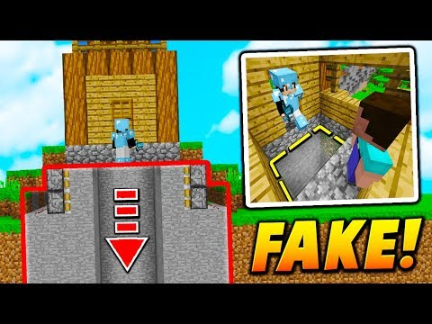 FAKE HOUSE PISTON FALL TRAP! - Minecraft SKYWARS TROLLING (BEST!)