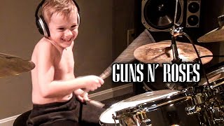 WELCOME TO THE JUNGLE (6 year old Drummer) Drum Cover by Avery Drummer Molek