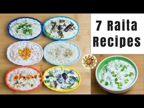 7 Types of Raitas | रायता रेसिपी वेरायिटीस् | Easy step by step method to make Indian Raita Recipes
