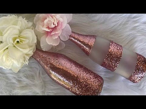 DIY ROSE GOLD and GLITTER WINE BOTTLE CENTERPIECE | Wedding | Baby Shower