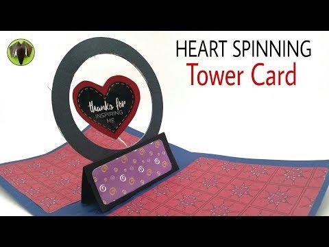 Heart spinner Tower card | Scrapbook - DIY Tutorial - 906