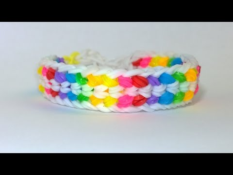 Rainbow Loom Double Capped Dragon Scale Bracelet With Fork! DIY