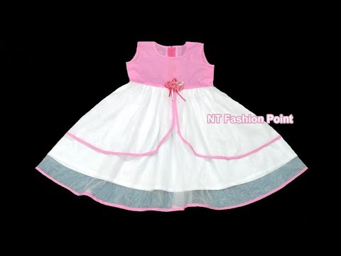 How to make baby girl pink and white sleeveless party wear dress | Cutting & stitching tutorial