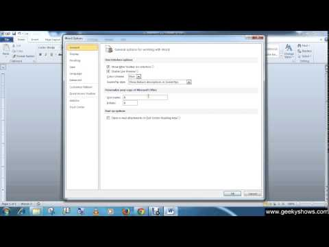 Microsoft Office Word 2010 Customize the Environment Using Word Options