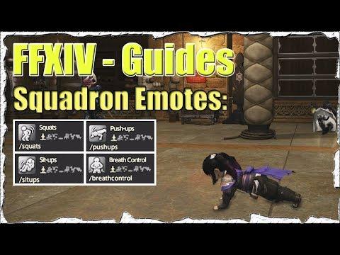 FFXIV Unlock Squadron Emotes: Squats, Push-Ups, Sit-Ups, Breath Control Guide (Patch 4.1) - SB