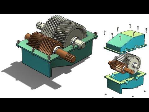 SolidWorks Tutorial #300 : Herringbone gearbox