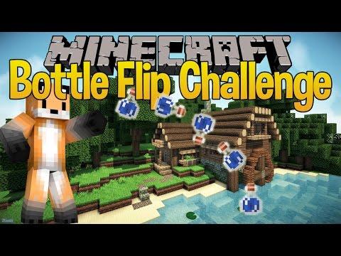 Minecraft Bottle Flip Challenge - 360 Bottle Flip Throw - Seapeekay