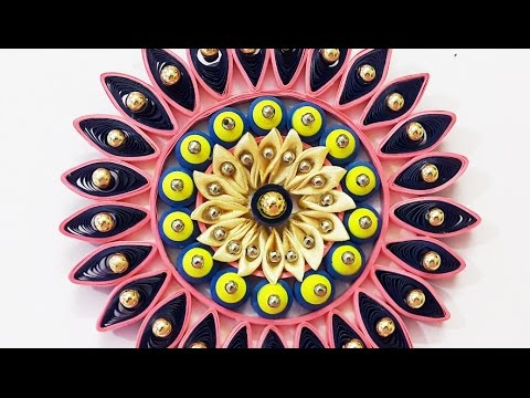DIY Wall Decor Ideas : How to Make Quilling & Kanzashi Wall Hanging for Diwali /Christmas Decoration
