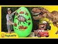 Giant Egg Surprise With Dinosaurs Vs Cars 3 Toys Lightning McQueen Videos For Kids