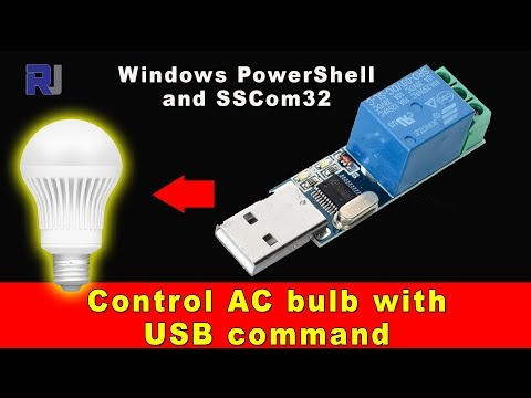 Control AC bulb with USB Relay module using PowerShell Command line