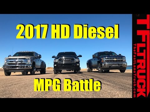 2017 Chevy HD vs Ford SD vs Ram HD Diesel 22,800 Lbs Towing MPG Review