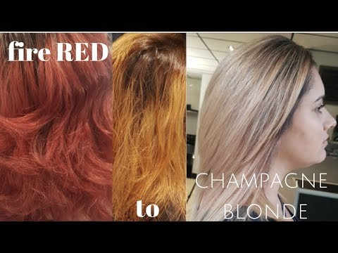 fire engine RED to CHAMPAGNE BLONDE