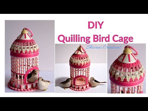 Paper Quilling Bird Cage/ How to make Quilled Bird House