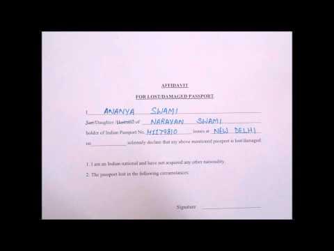 Affidavit Lost / Damaged Passport