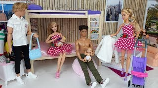 Two Barbie Doll Two Ken Morning Bedroom Bathroom Routine  Life in a Dream House  Dress up Dolls