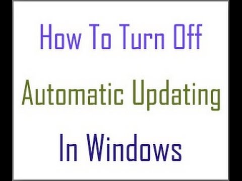 How to disable or turn off Automatic updates in Windows 7