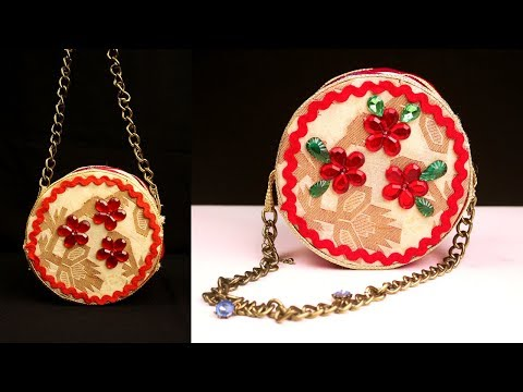 DIY Round Purse Using Old Clothes And Old CD's - Brilliant Recycle Old CDs Craft Idea
