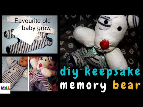 Keepsake Teddy Bear, how to make it yourself. Recycle old baby grow. DIY the easy way!