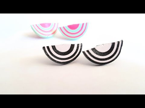 60. Quilling Earrings New design - Quilled Half Circle Stud
