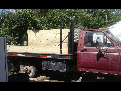 Building wooden sides for a flat bed truck.