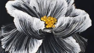 (206) String pull technique _ White Flower _ Acrylic Pouring _ Fluid acrylic _ Designer Gemma77