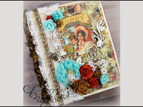 Prima Cigar Box Secrets Custom Wedding Scrapbook Mini Album