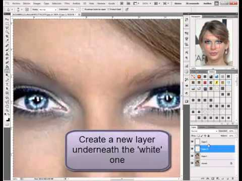 How to make eyes Bigger and Birghter on Photoshop cs5 - Easy