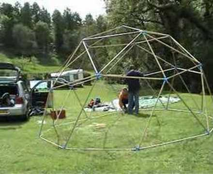 Geodesic dome tent - setting up