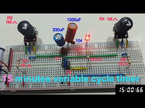 15 minutes cycle variable timer using 555 timer in Tamil & English, 15 minutes astable multivibrator