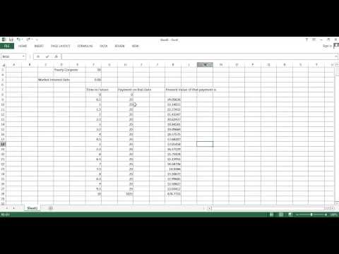 Financial System, Saving and Investment Part 6  Excel Example of Bond Valuation with Coupons
