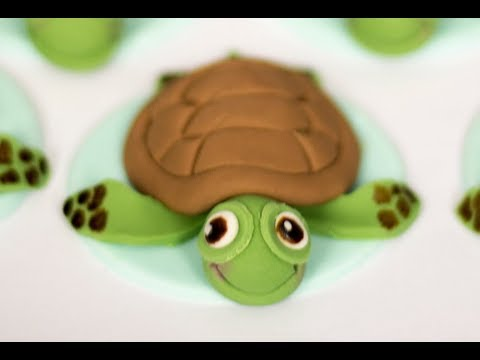 How to make cute edible Sea Turtle cupcake toppers, video tutorial.