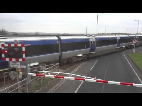 Train stop road from Belfast International Airport to Belfast center, Northern Ireland UK