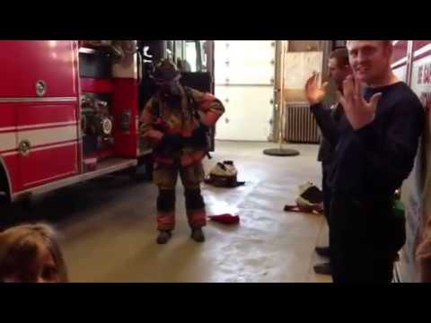 How quick does a fireman get dressed?