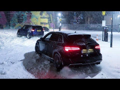 AUDI S3 vs Range Rover SVR in the SNOW! *Nearly Ran Me Over*