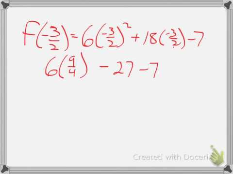 Finding domain/range of a quadratic function example 2