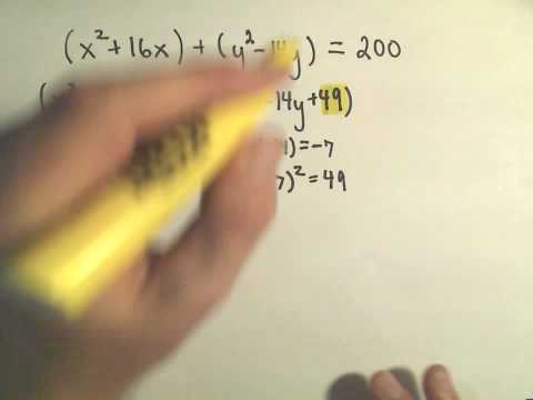 Finding the Center-Radius Form of a Circle by Completing the Square - Example 1