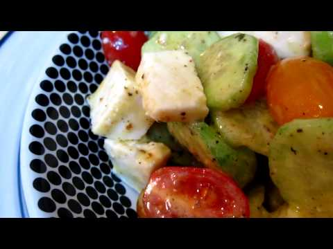 Cucumber, tomato, cheese and olive salad