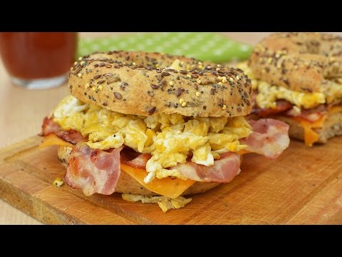 Toasted Bagels with Bacon, Cheddar & Scrambled Eggs - Easy Breakfast Sandwiches Recipe