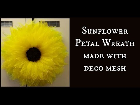 Sunflower Petal Wreath made with deco mesh
