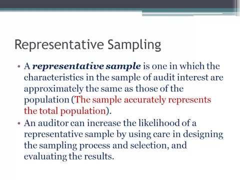 Representative Sampling in Auditing